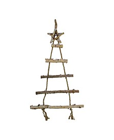 "32"" Natural 5-Tier Wall Hanging Twig Tree with Star Christmas Decoration"