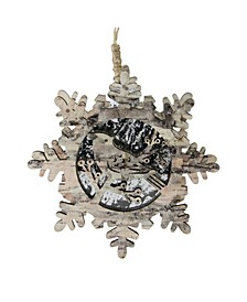 """6"""" Pre-Lit Brown and Gray Wooden Snowflake with Bird Christmas Ornament"""