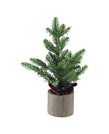 """16"""" Artificial Pine Christmas Tree In Wooden Pot Table Top Decoration"""