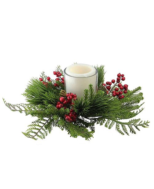 """Northlight 15"""" Traditional Artificial Pine and Red Berry Decorative Wreath Pillar Candle Holder"""