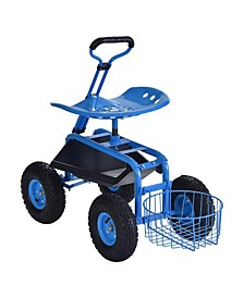 Blue Rolling Garden Cart with Tool Tray