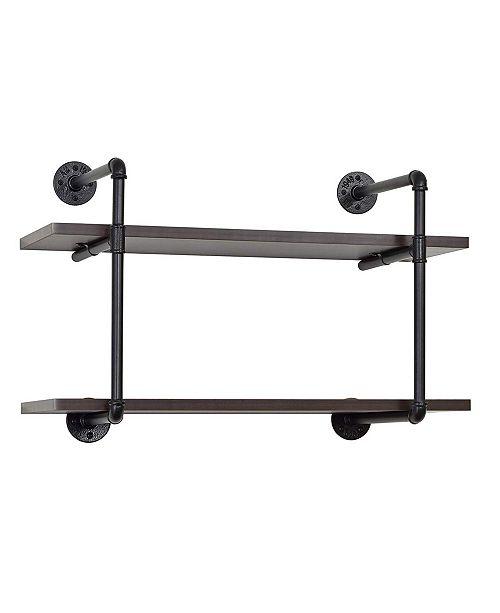 Edsal 2-Tiered Metal Pipe Wall Shelf