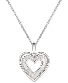 "Cubic Zirconia Baguette Heart 18"" Pendant Necklace in Sterling Silver"