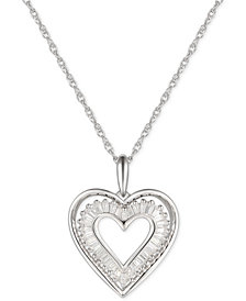"""Cubic Zirconia Baguette Heart 18"""" Pendant Necklace in Sterling Silver"""