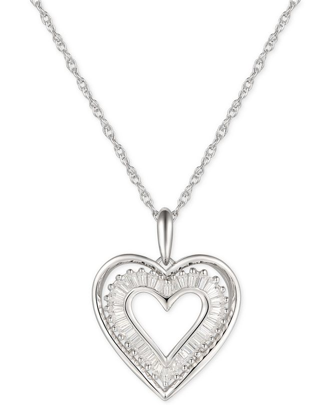 "Macy's Cubic Zirconia Baguette Heart 18"" Pendant Necklace in Sterling Silver"