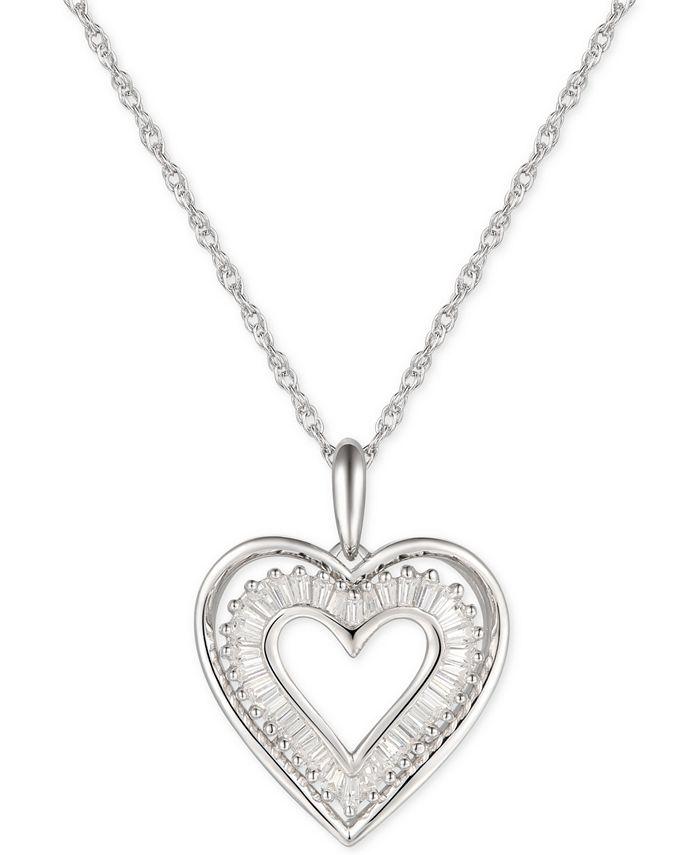 "Macy's - Cubic Zirconia Baguette Heart 18"" Pendant Necklace in Sterling Silver"