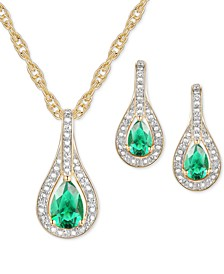 2-Pc. Set Emerald (1 ct. t.w.) & Diamond (1/20 ct. t.w.) Pendant Necklace & Matching Drop Earrings in Sterling Silver (Also available in Sapphire or Ruby)