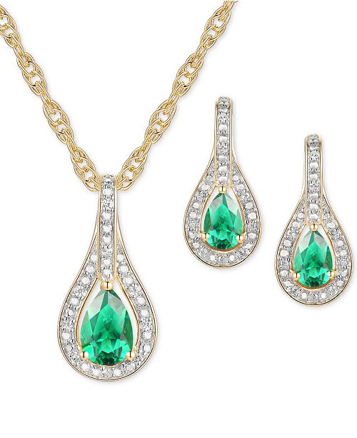Macy's 2-Pc. Set Emerald (1 ct. t.w.) & Diamond (1/20 ct. t.w.) Pendant Necklace & Matching Drop Earrings in Sterling Silver (Also available in Sapphire or Ruby)