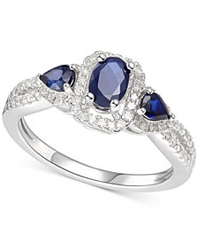 Sapphire (7/8 ct. t.w.) & Diamond (1/6 ct. t.w.) Statement Ring in Sterling Silver