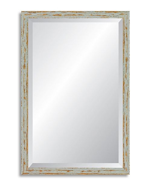 Reveal Frame & Decor Reveal Deep Farmhouse Worn Gray Beveled Wall Mirror