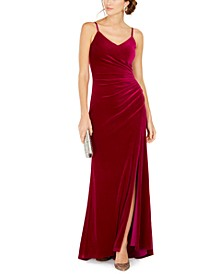 Draped Velvet Slit Gown