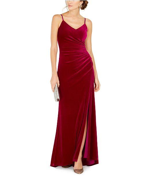 Vince Camuto Draped Velvet Slit Gown