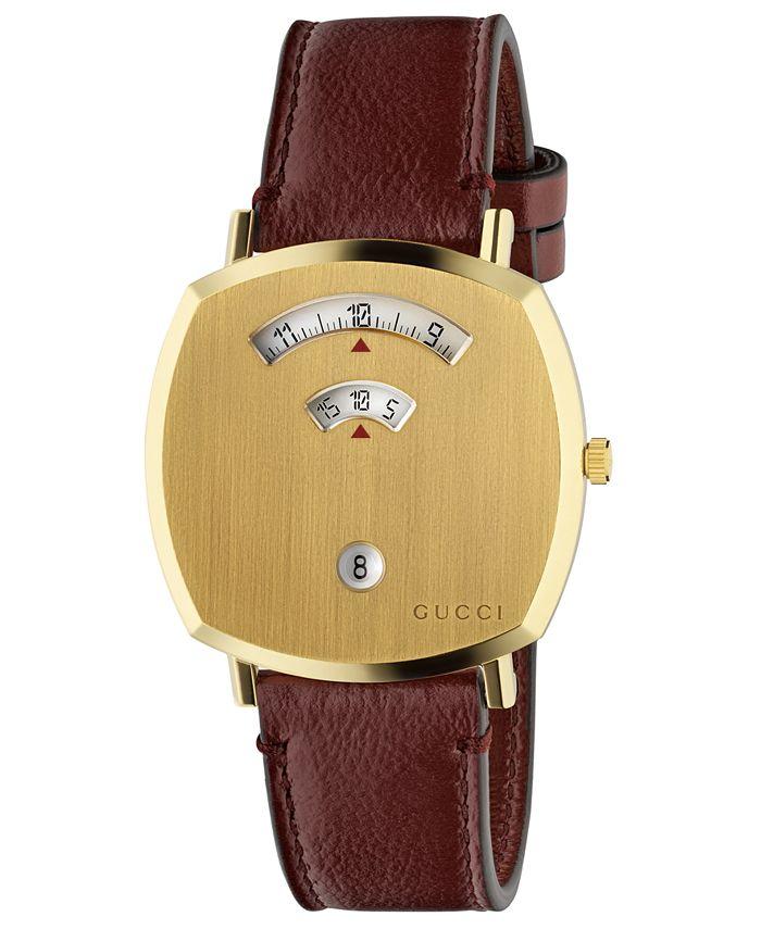 Gucci - Unisex Grip Bordeaux Leather Strap Watch 38mm