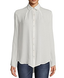 Pleated Button-Down Top