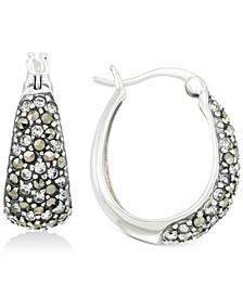 Marcasite & Crystal Pavé Hoop Earrings in Sterling Silver