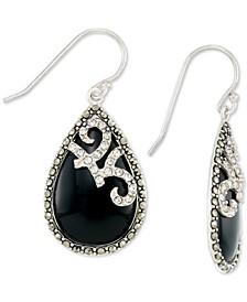 Onyx (15 x 24mm), Marcasite & Crystal Teardrop Earrings in Sterling Silver
