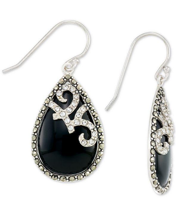 Macy's Onyx (15 x 24mm), Marcasite & Crystal Teardrop Earrings in Sterling Silver