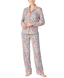 Cuddl Duds Printed Notch Collar Pajama Set