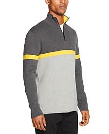Men's Colorblocked Ottoman Stripe 1/4-Zip Logo Sweater