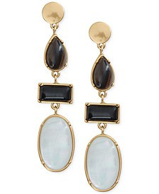 Gold-Tone Stone & Imitation Mother-of-Pearl Drop Earrings