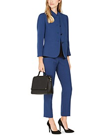 Band-Collar Blazer, Sleeveless Top & Ankle Pants