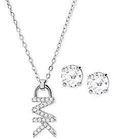 "Sterling Silver Crystal Logo Pendant Necklace & Stud Earrings Set, 16"" + 2"" extender"