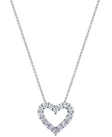 "Diamond 18"" Heart Pendant Necklace (2 ct. t.w.) in 14k White Gold"