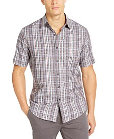 Men's Stretch Dobby Plaid Woven Shirt, Created For Macy's