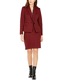 Jacquard Single-Button Jacket, Metallic V-Neck Top & Jacquard Pencil Skirt