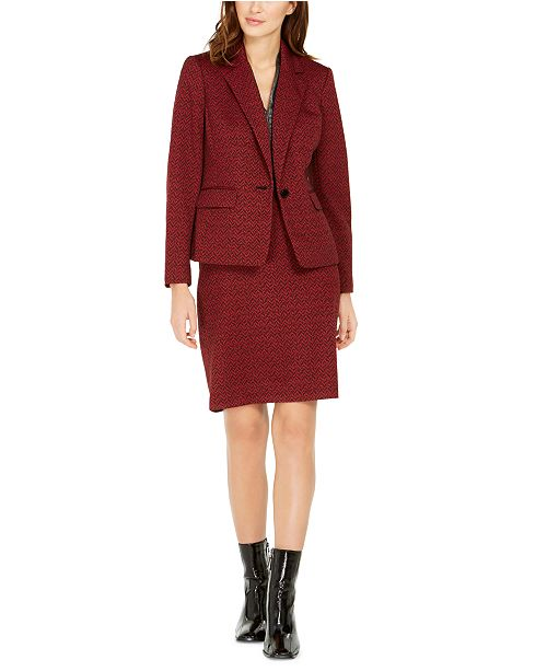 Nine West Jacquard Single-Button Jacket, Metallic V-Neck Top & Jacquard Pencil Skirt
