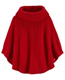 Big & Little Girls Sparkly Cable-Knit Poncho