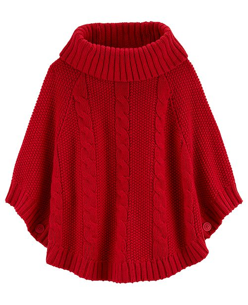 Carter's Big & Little Girls Sparkly Cable-Knit Poncho