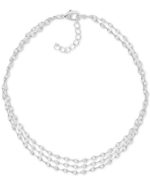Essentials Three-Row Mirror Chain Anklet in Silver-Plate
