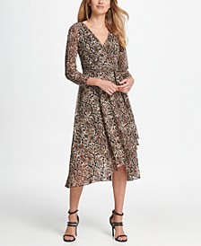 Mesh  Animal Print Wrap Handkerchief Dress