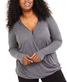Motherhood Maternity Nursing Plus Size Wrap Hoodie