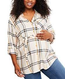 Motherhood Maternity Plus Size Plaid Cotton Shirt