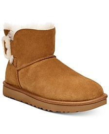 Women's Mini Bailey Fluff Buckle Boots