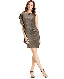 Metallic Asymmetrical Bodycon Dress