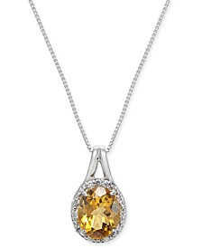 "Citrine (2-3/8 ct. t.w.) & Diamond (1/10 ct. t.w.) 18"" Pendant Necklace in Sterling Silver"