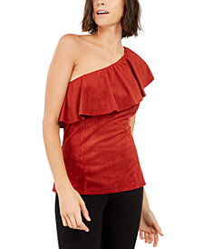 INC Faux-Suede One-Shoulder Ruffled Top, Created For Macy's