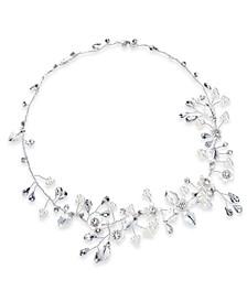 INC Silver-Tone Crystal & Imitation Pearl Floral Halo Bridal Headband, Created For Macy's