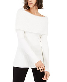 INC Sequined Eyelash-Knit Foldover Sweater, Created For Macy's