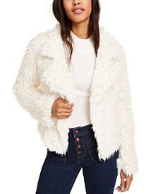 Juniors' Fuzzy Faux Fur Jacket