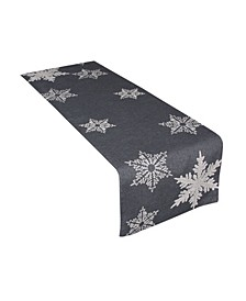 "Glisten Snowflake Embroidered Christmas Table Runner, 16"" x 70"""