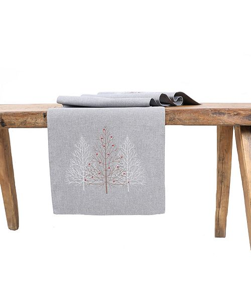 Manor Luxe Festive Trees Embroidered Christmas Table Runner