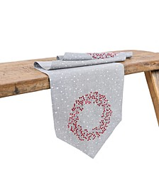 Holly Berry Wreath Embroidered Christmas Table Runner