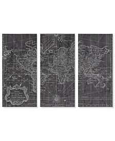 "World Map 1778 triptych Canvas Art - 36"" x 17"" x 3"""