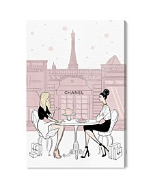 Cafe Shopping Friend Blush Canvas Art Collection