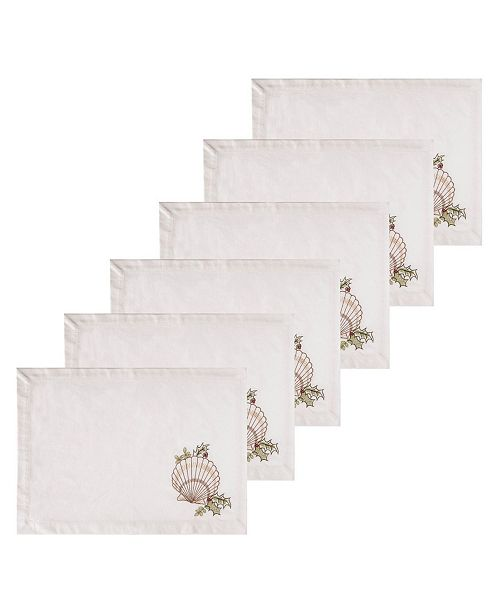 C&F Home Shells with Holly Placemat, Set of 6