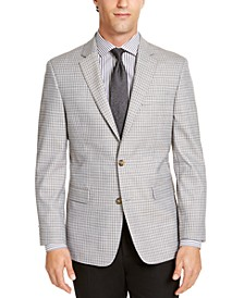 Men's Modern-Fit THFlex Stretch Light Gray Mini-Check Sport Coat